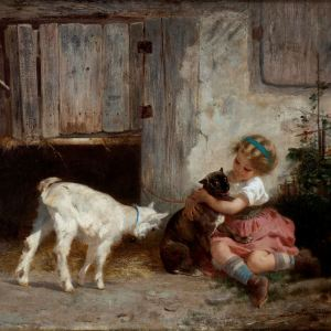 ANTON DIEFFENBACH-OIL PAINTING-GIRL, GOAT & DOG
