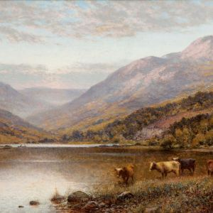 ALFRED A GLENDENING-OIL PAINTING-CATTLE BY LOCH