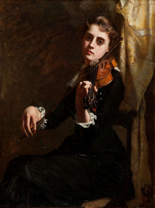 MARY KATE BENSON-OIL PAINTING-LADY PLAYING VIOLIN