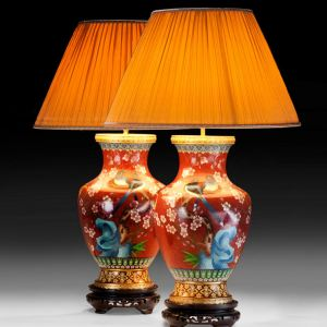 ANTIQUE PAIR OF JAPANESE CLOISONNE VASES CONVERTED TO LAMPS