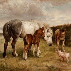 FANNIE MOODY-OIL PAINTING-HORSES & PIG