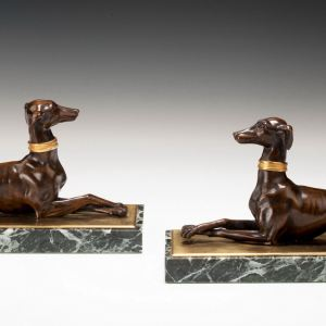 ANTIQUE PAIR OF FRENCH BRONZE GREYHOUNDS