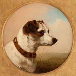 ANTIQUE PAIR OF OIL PAINTINGS OF DOGS