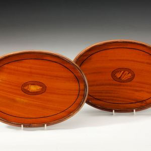 ANTIQUE PAIR OF OVAL SATINWOOD TRAYS