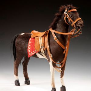 ANTIQUE GERMAN CHILDS HIDE COVERED TOY HORSE