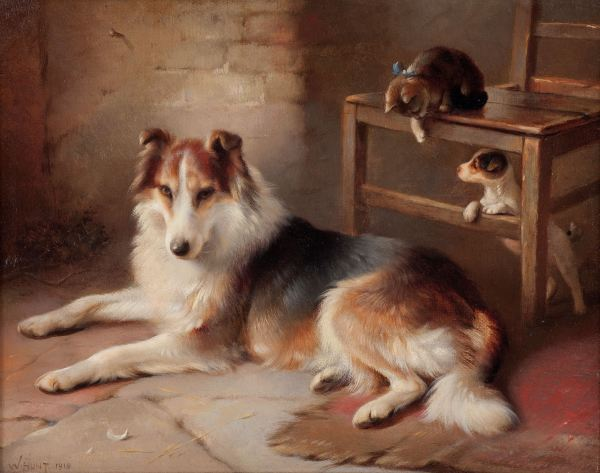 WALTER HUNT-OIL PAINTING-DOGS