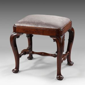 ANTIQUE QUEEN ANNE WALNUT STOOL WITH CABRIOLE LEGS