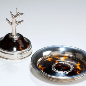 ANTIQUE SILVER AND TORTOISESHELL RING TRAY AND STAND