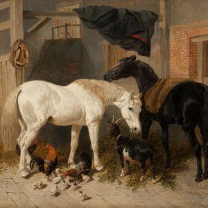 JOHN FREDERICK HERRING-OIL PAINTING-HORSES, GOAT & CHICKENS
