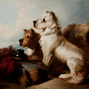 RICHARD ANDSELL-OIL PAINTING-HUNTING DOGS