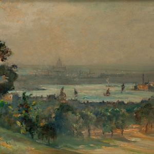 JAMES HERBERT SNELL-OIL PAINTING-LONDON FROM GREENWICH PARK