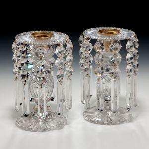 ANTIQUE PAIR OF REGENCY CUT GLASS LUSTRES