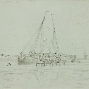 EDWARD DUNCAN-PAIR PENCIL DRAWINGS-BOATS AT RYDE PIER