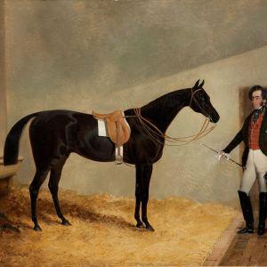 JOHN FREDERICK HERRING-OIL PAINTING-HORSE IN STABLE