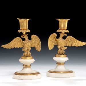 ANTIQUE PAIR OF ORMOLU & MARBLE CANDLESTICKS