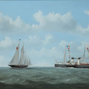 GEORGE MEARS-OIL PAINTING-THE NORMANDY STEAM SHIP