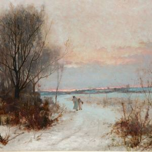 TOM EDWIN MOSTYN-OIL PAINTING-WINTER SCENE