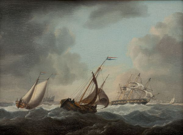 CHARLES MARTIN POWELL-OIL PAINTING-SHIPPING OFF COASTLINE