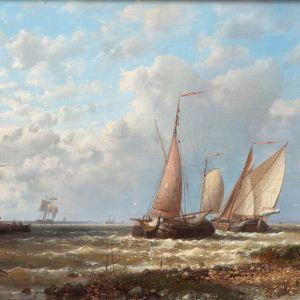ABRAHAM HULK SENIOR-OIL PAINTING-BOATS SCHELDT