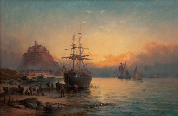 CHARLES THORNLEY-OIL PAINTING-MOUNTS BAY CORNWALL