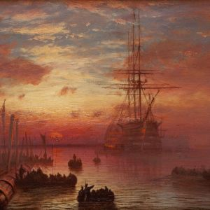 ISSAC WALTER JENNER-OIL PAINTING-PORTSMOUTH, HMS VICTORY