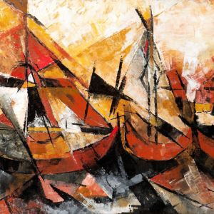 USHA KARMAKAR-OIL PAINTING-ABSTRACT BOATS