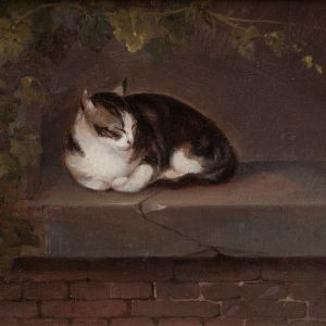 GERMAN SCHOOL-OIL PAINTING-CAT