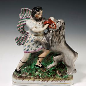 ANTIQUE STAFFORDSHIRE FIGURE OF SAMSON & THE LION
