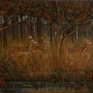 GLASGOW SCHOOL-OIL PAINTING-DEER BESIDE STREAM