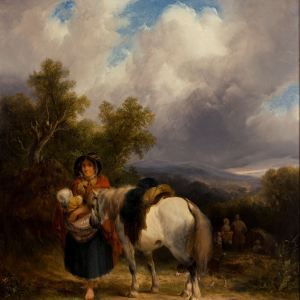 WILLIAM SHAYER SENIOR-OIL PAINTING-GYPSY ENCAMPMENT