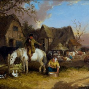 WILLIAM SHAYER SENIOR-OIL PAINTING-FARMYARD SCENE