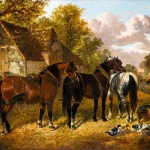 JOHN FREDERICK HERRING JNR-OIL PAINTING-FARMYARD SCENE