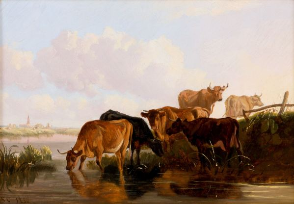 THOMAS SIDNEY COOPER-OIL PAINTING-CATTLE CANTERBURY