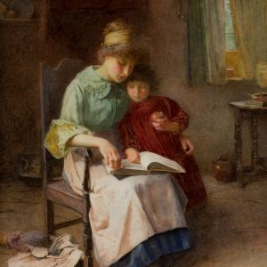 CARLTON ALFRED SMITH-WATERCOLOUR PAINTING-STORYTIME