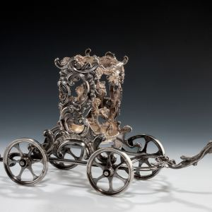 ANTIQUE SILVER PLATED ROCOCO STYLE WINE CARRIAGE