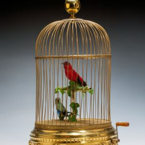 ANTIQUE LARGE DOUBLE SINGING BIRD IN CAGE PROBABLY BY BONTEMS