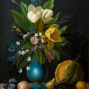MICHAELANGELO MEUCCI-OIL PAINTING-FRUIT & FLOWERS