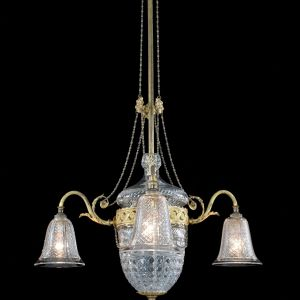 ANTIQUE BRASS MOUNTED THREE LIGHT CHANDELIER