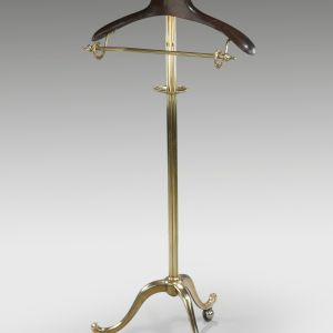 VINTAGE BRASS & MAHOGANY CLOTHES STAND