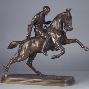 ANTIQUE BRONZE MOUNTED POLO PLAYER BY BONHEUR