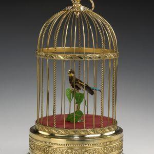 ANTIQUE VERY FINE SINGLE SINGING BIRD IN CAGE BY KARL GRIESBAUM