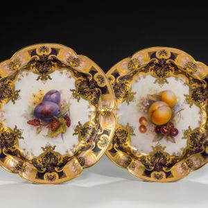 ANTIQUE PAIR ROYAL WORCESTER DISHES-RICHARD SEBRIGHT