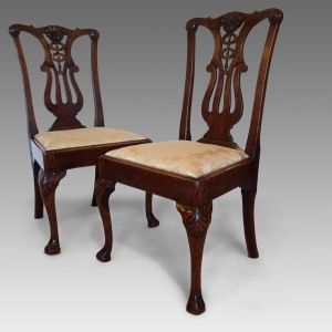 ANTIQUE PAIR OF GEORGE II WALNUT SIDE CHAIRS
