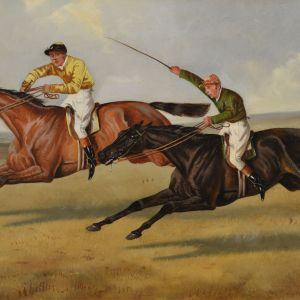 ALFRED WHEELER OIL PAINTING HORSE RACING SANDOWN