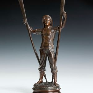 ANTOINE BOFILL ANTIQUE BRONZE LIFEBOATMAN ROWER