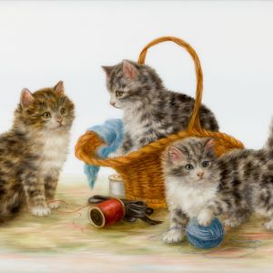 BESSIE BAMBER-OIL PAINTING-CATS