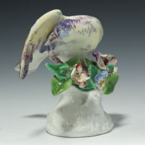 ANTIQUE BOW PORCELAIN FIGURE OF A BUNTING BIRD