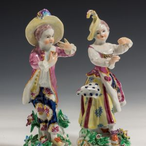 ANTIQUE PAIR BOW PORCELAIN FIGURES OF A BOY AND GIRL