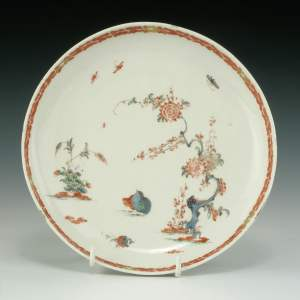 ANTIQUE BOW PORCELAIN SAUCER WITH QUAIL PATTERN
