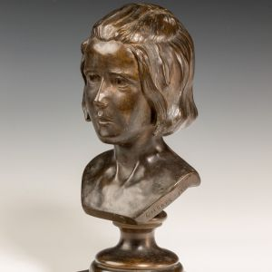C H BARR-BRONZE-FEMALE BUST OF YOUNG GIRL